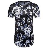 Zhiyuanan Männer T-Shirt Mit Rundhalsausschnitt Kurzarm Blumenmotiv Pullover Shirt Tops