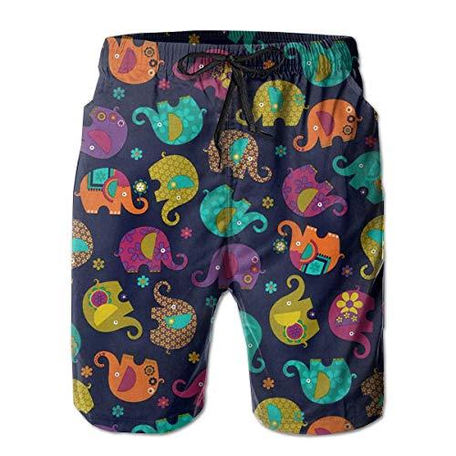 Troncos de baño para Hombres Pintura de Elefantes Lindos Pantalones Cortos de...