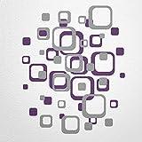 WANDfee Wandtattoo Vierecke retro cube 80 aufkleber FARBWUNSCH wandaufkleber kinderzimmer wohnzimmer flur fliesenaufkleber bad badezimmer küche