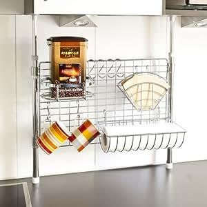 bremermann® Étagère de cuisine télescopique, y compris porte-rouleau et porte-filtre, panier, crochets