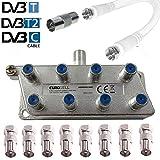 TronicXL 4251504198847 8fach IEC Verteiler Antennenverteiler TV Kabel Adapter Kabelfernsehen zb für Unitymedia