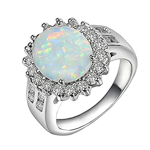 White Fire Opal Ring Women-Cheerslife Fashion Jewelry 18K White Gold Silver filled Diamond Gift Size 9