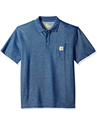 Carhartt Mens Short Sleeve Rib Knit Button Work Pocket Polo Shirt