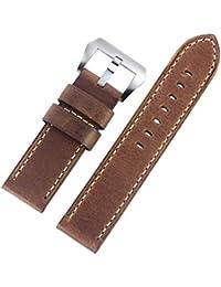 schwarz w.N genarbt - 18,20,22,24 mm Leder Uhrenarmband mit Faltschließe