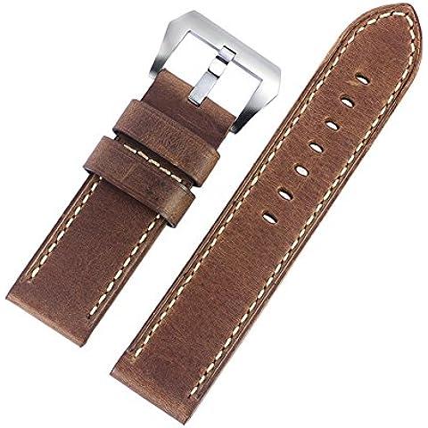 24 mm de Brown del café de lujo apenada Nubuck Correas de Reloj de cuero grueso resistente estilo militar
