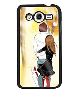 Fuson Cycling Love Couple Back Case Cover for SAMSUNG GALAXY CORE 2 - D4007