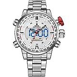 Weide analogique Digital Femme Watch-men Mode Entreprise classique montre bracelet en acier inoxydable, alarme, calendrier (Argent/blanc)
