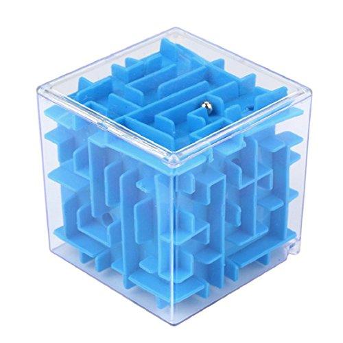 Culater® 3D Cube Puzzle Labyrinthe Jeu de main Boîte de Jeux Fun Cerveau Jeu Challenge Remuer Jouet Série 2 (bleu)