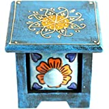 [Sponsored]Mewar Arts And Design Wood Decorative Box (10 Cm X 10 Cm X 8 Cm, Blue, MA 04)