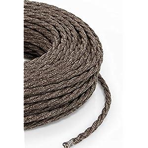 Cable textil trenzado de 2 Metro - Cable de luz con revestimiento textil 3 x 0,75 mm/² 3 hilos smartect Cable para l/ámparas de tela en color Marr/ón