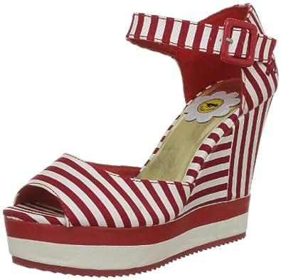 Rocket Dog Women's Spirit Red Lucky Stripe Ankle Strap Heels 6 UK