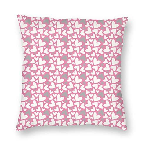 Huabuqi san valentino grigio e bianco cuori su rosa background_2028 decorativo federa casa federa colorato 18x18 pollici