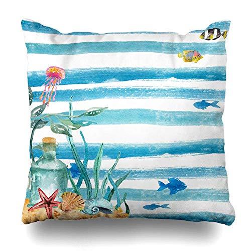 Klotr Decorative Fundas Almohada Drawing Blue Jellyfish