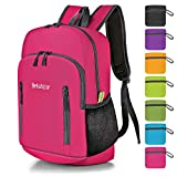 Bekahizar 20L Ultra Lightweight Backpack Foldable Hiking Daypack Rucksack Water Resistant Travel Day Bag for Men Women Kids Outdoor Camping MountaineeringWalking Cycling Climbing (Rose Red)