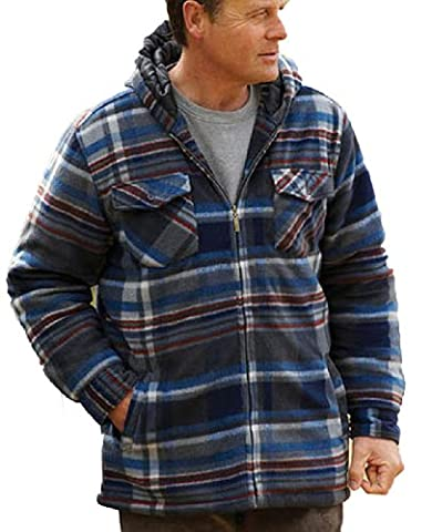 Champion Men's Dundee Fleece Sherpa Lined Hooded Winter Shirt (XL) Blue