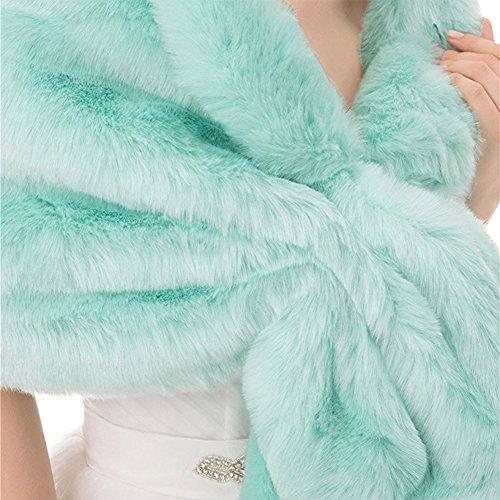 Sunzeus Boléro en fausse fourrure de châle coloré pour les accessoires de mariage nuptiale Chauds chapeaux de soirée d'hiver Turquoise
