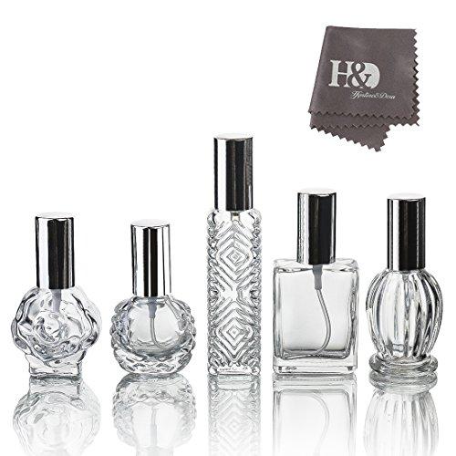 H & D klar Vintage leer nachfüllbar Parfüm Glas Flasche Zerstäuber für Hochzeit Geschenke Home Decor Set von 5 (Vintage Parfüm-set)