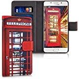 kwmobile Étui en cuir synthétique chic pour Samsung Galaxy A5 (2016) avec fonction support pratique. Design cabine téléphone Londres en rouge noir blanc