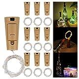 iFancy 10 Stk. LED Flaschenlicht Korken Lichterkette - je 2 Meter mit 20 LEDs in Warmweiss - flexibler Silberdraht - Upcycling Dekoration Party Weihnachten Weinflasche Geschenk