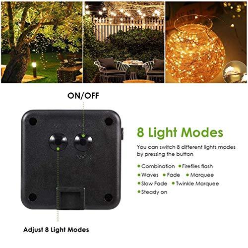 Lichterkette Solar außen B-right 200 LED Lichterkette Kupferdraht, Warmweiß, Wasserdicht LED Solarlichterkette, Lichterkette Kupfer, Innen und Außen Lichterkette für Garten