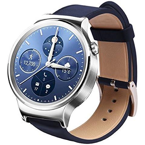Smart Watch Band, pelle Aisun epoca in rilievo Top-Grain polso del cinturino di ricambio cinghia per Huawei Watch (Blu Marino)