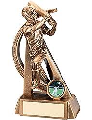 JR6-RF286B Brz/oro grillo Batsman Geo figura trofeo - (1 en el centro) en 7 incluye grabado gratis (hasta 30 caracteres)