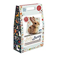 The Crafty Kit Company Baby Bunny Needle Felting Kit Containing 100% British wool, Felting Needles, High Density Felting Sponge, Pipe Cleaners, Glass Eyes and Clear Colour Instructions