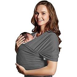 Fular Portabebés,Mopalwin Portador de Bebé Elastico para llevar al Bebé Ajustable Baby Carrier para Padres - Gris