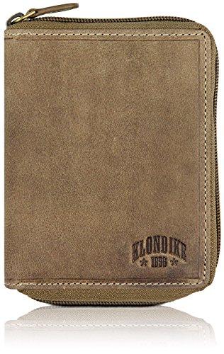 Klondike 1896 Geldbörse aus echtem Leder 'Dylan', hochwertiges Echtleder Portemonnaie, Limited Edition, Stone