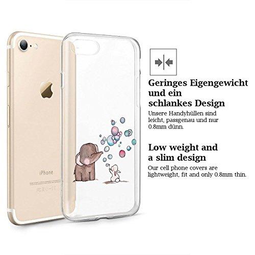 finoo | iPhone 8 Plus Weiche flexible Silikon-Handy-Hülle | Transparente TPU Cover Schale mit Motiv | Tasche Case Etui mit Ultra Slim Rundum-schutz | Princess white Elefant Hase Seifenblasen