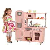 Kidkraft 53179 Pink Vintage Play Kitchen. Wooden vintage style kids play kitchen, with doors that open and close, knobs that click and turn and removeable sink