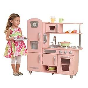 KidKraft 53179 Cuisine enfant en bois Pink Vintage, jeu d'imitation incluant téléphone - rose