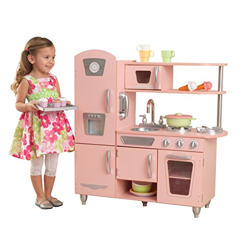 Kidkraft-53179 Cocina de juguete infantil Vintage de madera: rosa Color (53179)