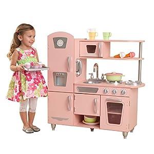 KidKraft- Cocina de juguete de madera vintage rosa para niños con teléfono incluido para juegos de dramatizaciòn , Color Rosa ( 53179 )