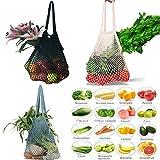 Einkaufsnetz Netze Tasche Kartoffelsack 3er Pack wiederverwendbar Einkaufstasche für Sandspielzeug, Obst, Gemüse