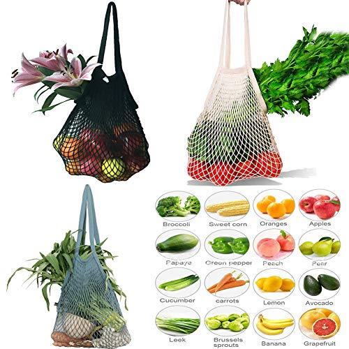 Einkaufsnetz Netze Tasche Kartoffelsack 3er Pack wiederverwendbar Einkaufstasche für Sandspielzeug,...