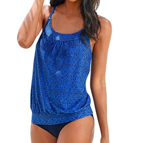 Badeanzug Damen Sportlich , Yogogo Bikini Set | Pad Push Up Badeanzüge Figurformende | Mädchen Bademode Tankini | Schwimmen Anzüge | Badekleid | Badekleidung Bauchweg | Elastische Swimsuit (2XL, Blau)
