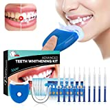 Teeth Whitening Kit Bleaching Gel - Zahnaufhellung - für Weisse Zähne Bleaching Zähne Zu Hause Professionelle Zahnaufhellung Set Zahnweiß-Bleichsystem, 10x Teeth Whitening 2x Dental Trays Gel Kit & 1x Laserlicht 5x Deep Cleaning Tooth Wipe