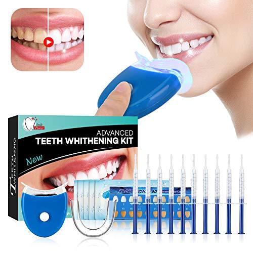 Teeth Whitening Kit Sbiancamento denti - ISUDA Gel Sbiancante Denti Professionale, 10x Sbiancamento dei denti,10x Pulizia Profonda Teeth Wipe,2x Kit vassoi per Luce a led