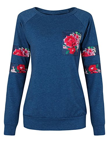 Vessos Damen Langarm Tunika Tops Knit Button Crew Neck Bluse T-Shirt Pullover Dunkelblau