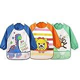 Unisex Bambini Childs Arti Artigianato pittura grembiule bambino Bavaglino impermeabile con maniche e Pocket, 6–36mesi, Blu navy, Set di 3