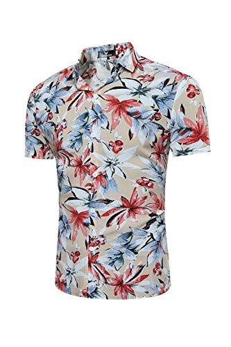Simgahuva-Hombres-Camisa-Hawaiana-Florales-Aloha-Shirts-Khaki-S