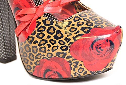 TooFast ROSE and LEOPARD Bow Schleifen Strap MARY JANE Heels Rockabilly Braun-Schwarzes Leomuster mit roten Rosen