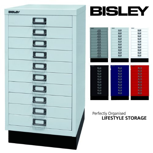 Bisley Schubladenschrank 29 aus Metall | Schrank mit 10 Schubladen und Sockel | Büroschrank DIN A3...
