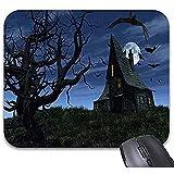 Schreibtischunterlage,Halloween Scary Haunted House Fledermäuse Vollmond Creepy Tree Mauspad 11,8 x 9,8-Office Gaming Desktop-Zubehör