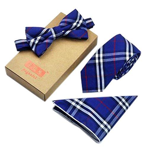 Männer Elegante Plaid-Muster Krawatten Set Krawatte/Fliege/Pocket, Blau (Blaue Plaid-krawatte)