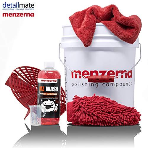 detailmate Menzerna Autowasch Set: GritGuard Eimer 5 Gal (ca.20L) mit Grit Guard Einsatz und Snappy Grip + MZ Wash Autoshampoo 1L + Waschhandschuh + hochwertiges Mikrofaser Poliertuch + Messbecher