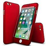 CASYLT® iPhone 6 / 6s Plus Hülle 360 Grad Fullbody Case [inkl. 2X Panzerglas] Premium Komplettschutz Handyhülle Rot