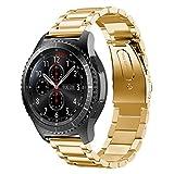 VICARA Pebble Time 2 Uhrenarmband Gear S3 Armband 22MM Edelstahl Metall Metallarmband Edelstahl für Uhren Uhrenarmbänder Huawei Pebble Time Pebble Time Steel, Samsung Gear S3 Frontier Classic(22MM, Gold)
