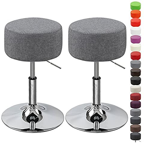 WOLTU BH62hgr-2 Round Bar Stool Set of 2 Height Adjustable Kitchen Stool with Linen Fabric Seat Light